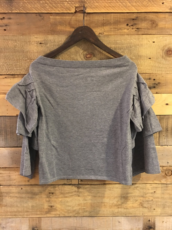 Gracen Ruffle Sleeve Off Shoulder Top in Heather Grey-THML-The Bugs Ear