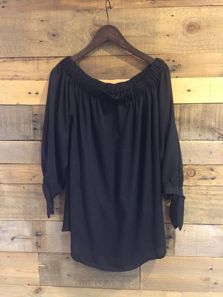 Irene Contemporary Off Shoulder Black Top-Wishlist-The Bugs Ear