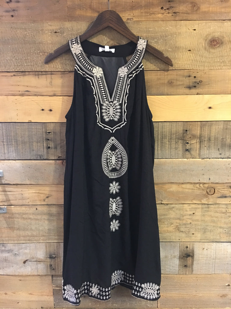 Whitney Sleeveless Embroidered Dress-THML-The Bugs Ear