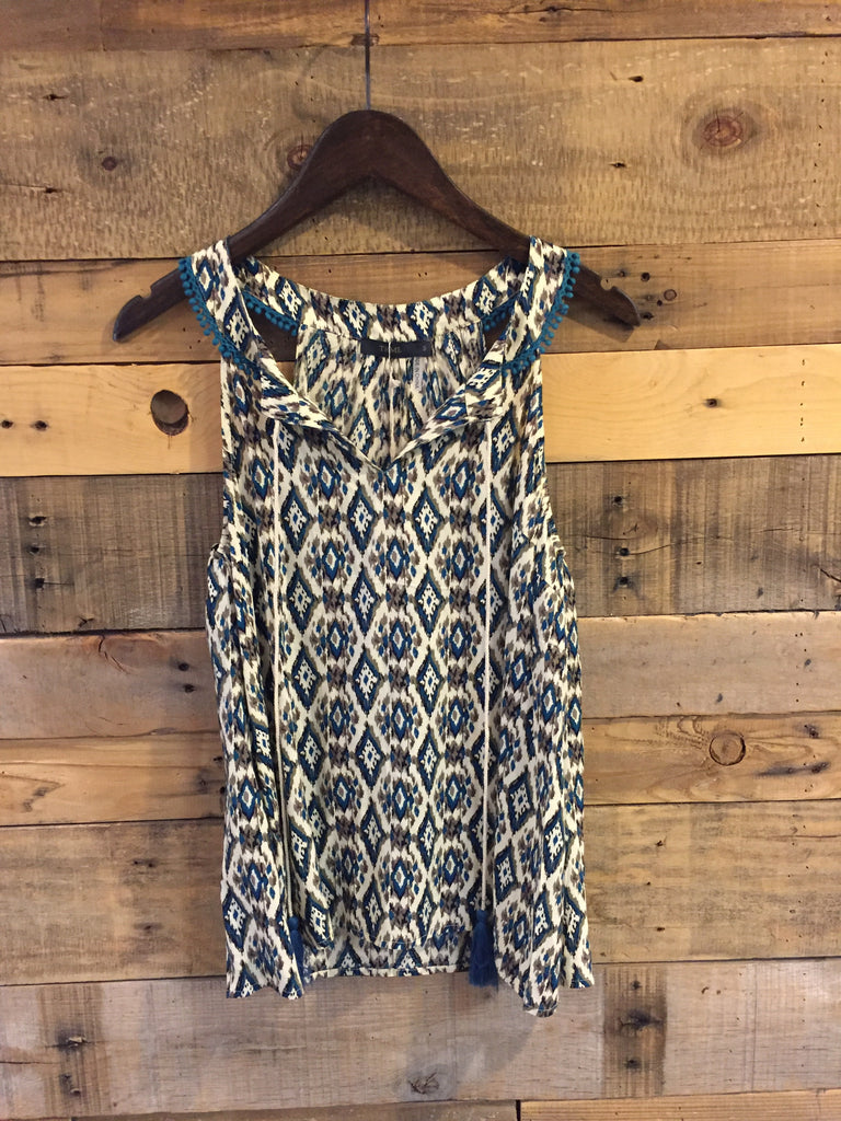 Winona Teal Patterned Sleeveless Top with Pom Detail-THML-The Bugs Ear