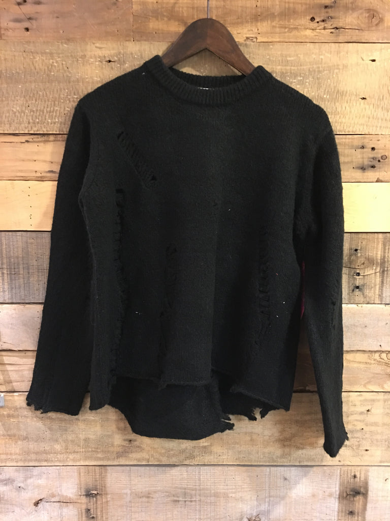 Sandy Destroyed Black Knit Sweater-RD Style-The Bugs Ear