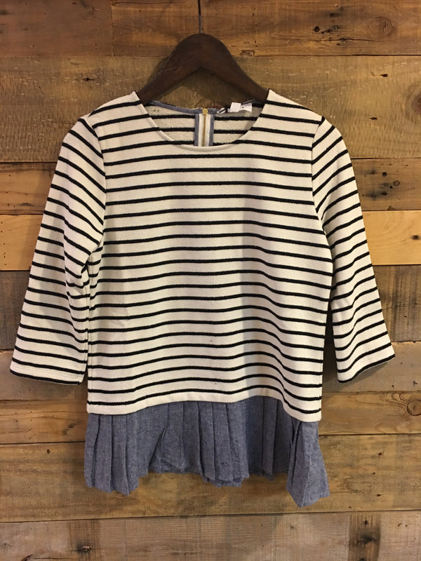 Marisole Stripe Knit Sweater With Denim-THML-The Bugs Ear