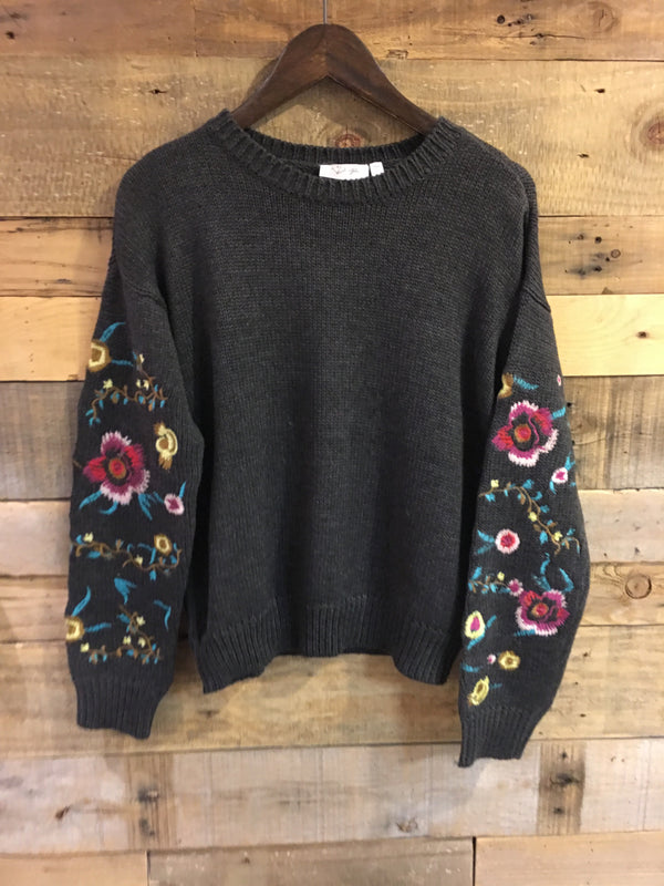Eleanor Grey Embroidered Sweater-RD Style-The Bugs Ear