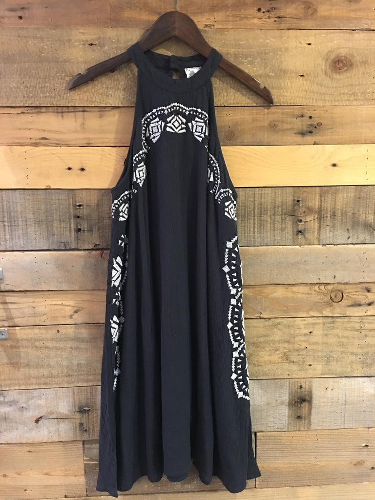 Becka Charcoal Embroidered Dress-Sadie & Sage-The Bugs Ear