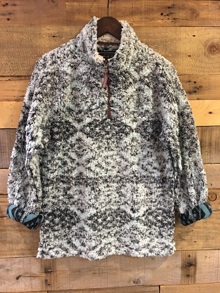 Tribal Aqua True Grit Frosty Tipped Pill Quarter Zip Fleece Pullover-True Grit-The Bugs Ear