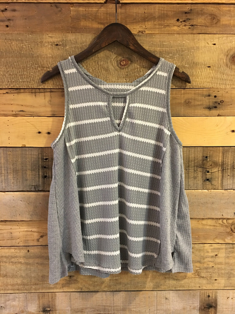 Gina Light Grey and Ivory Thermal Stripe Tank-Vintage Havana-The Bugs Ear