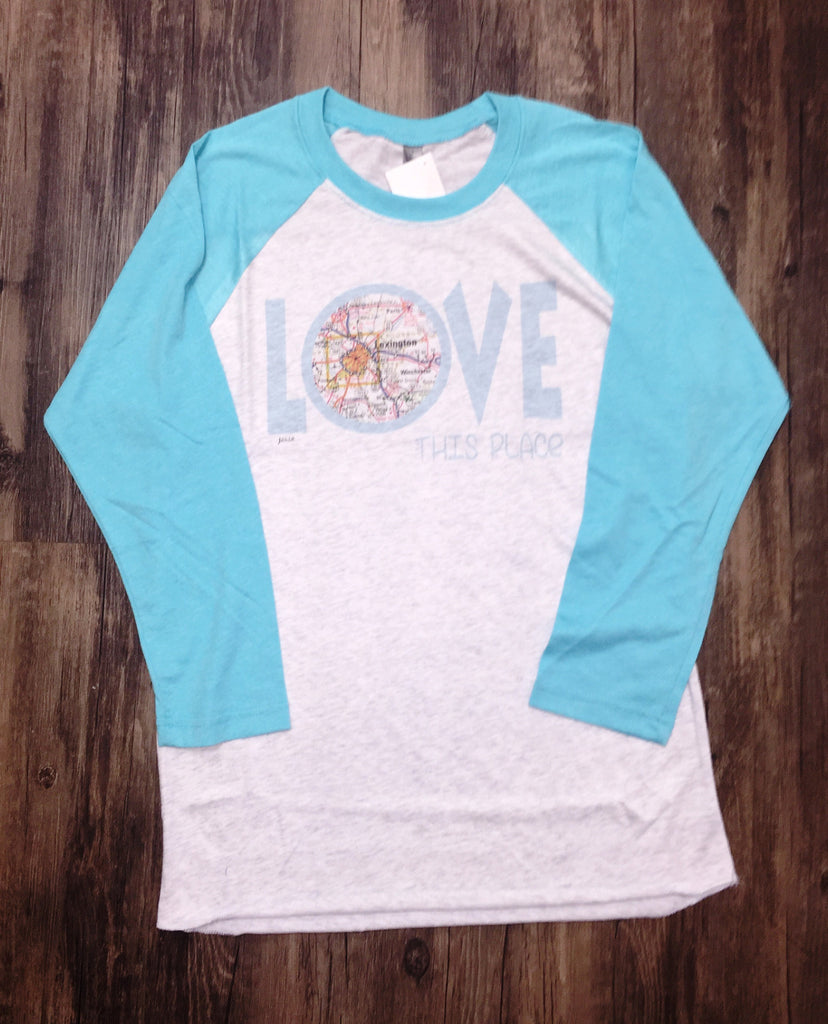 I Love This Place Lexington Turquoise Baseball Tee-Julio-The Bugs Ear