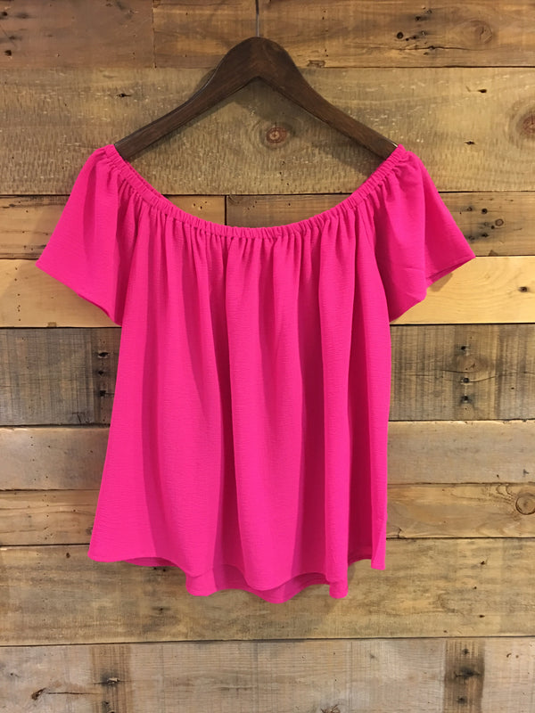 Hillary Off Shoulder Top in Bright Pink-Joy Joy-The Bugs Ear