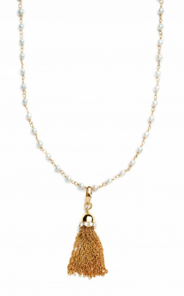 "Spartina Small Beaded Necklace 40"" Pearl-Spartina-The Bugs Ear"