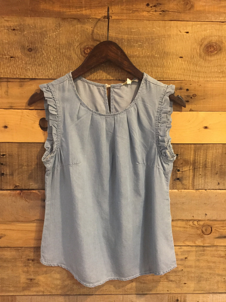 Ellen Tencel Light Wash Chambray Sleeveless Top-Laju-The Bugs Ear