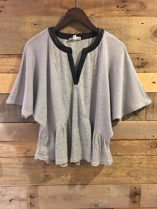 Robyn Contrast Dolman Top With Leather Neckline-THML-The Bugs Ear