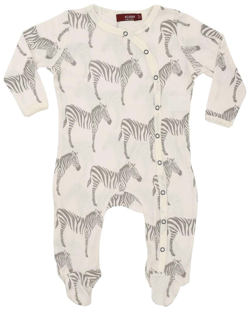 Milkbarn Footed Romper Grey Zebra-Milkbarn-The Bugs Ear