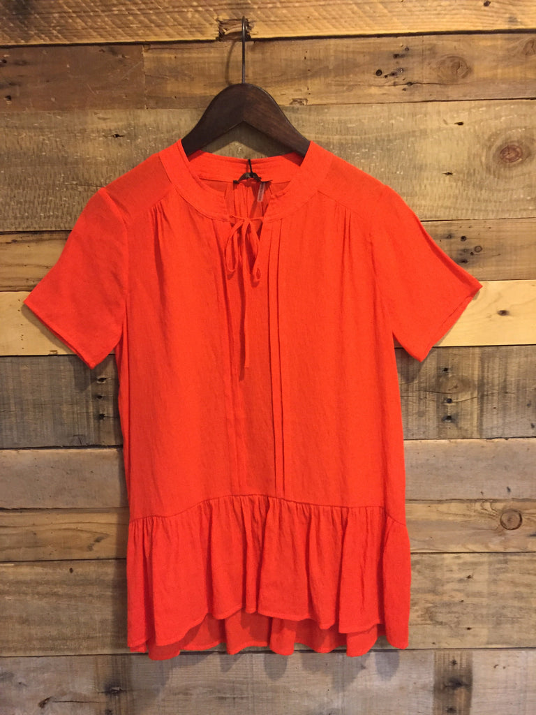 Ally Short Sleeved Ruffle Tunic-THML-The Bugs Ear
