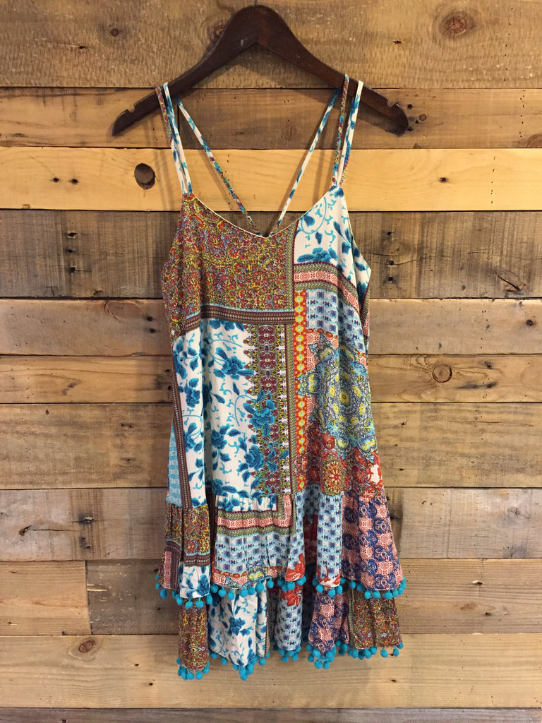 Trisha Turquoise Patchwork Tiered Sundress-Joy Joy-The Bugs Ear