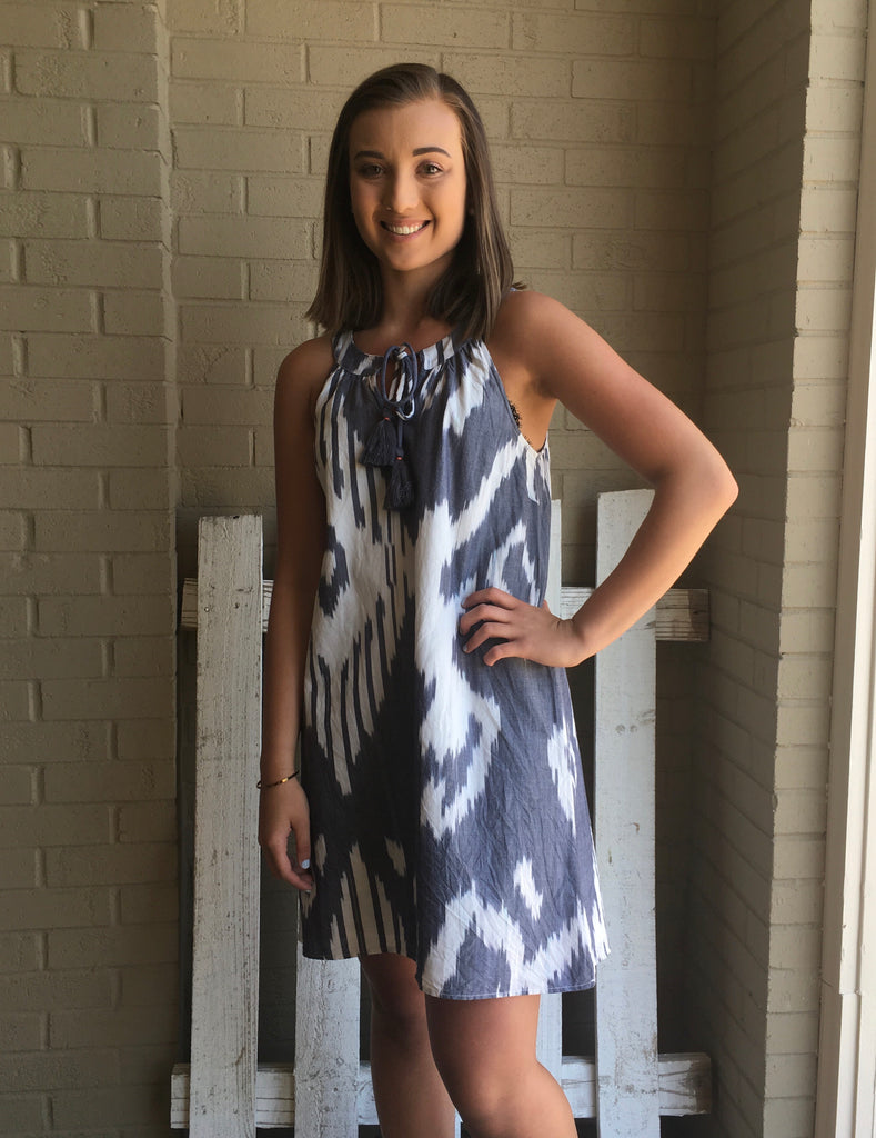 Ikat Sleeveless Dress-THML-The Bugs Ear
