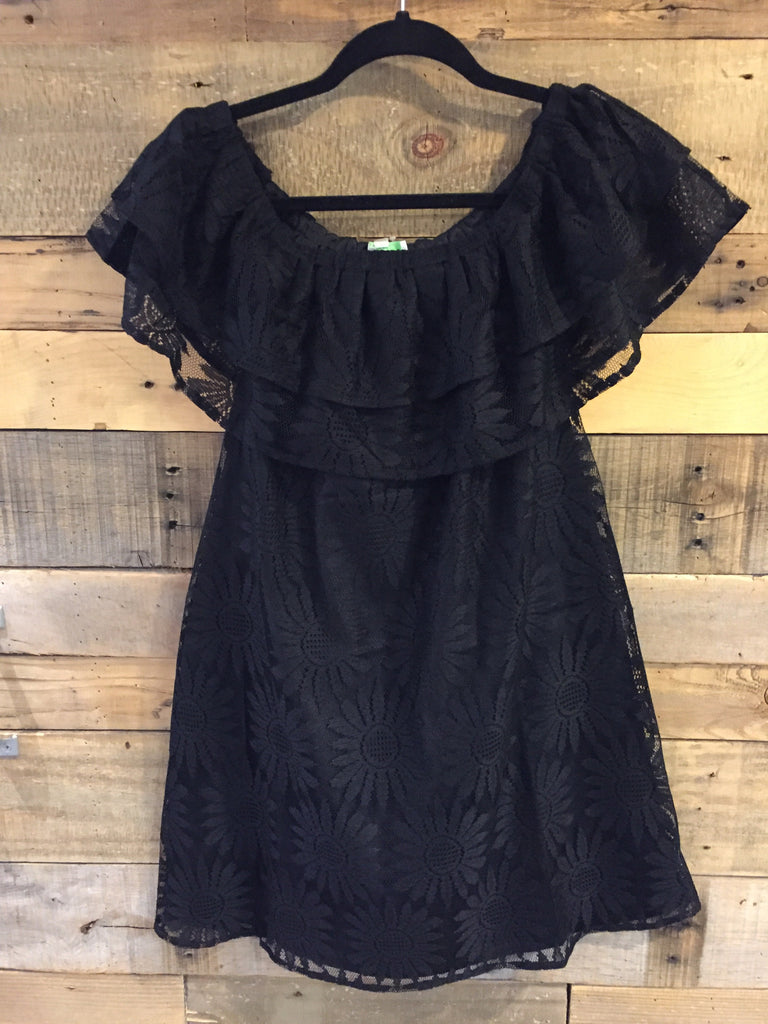 Vicki Black Sunflower Lace Off Shoulder Dress-Jade Melody Tam-The Bugs Ear