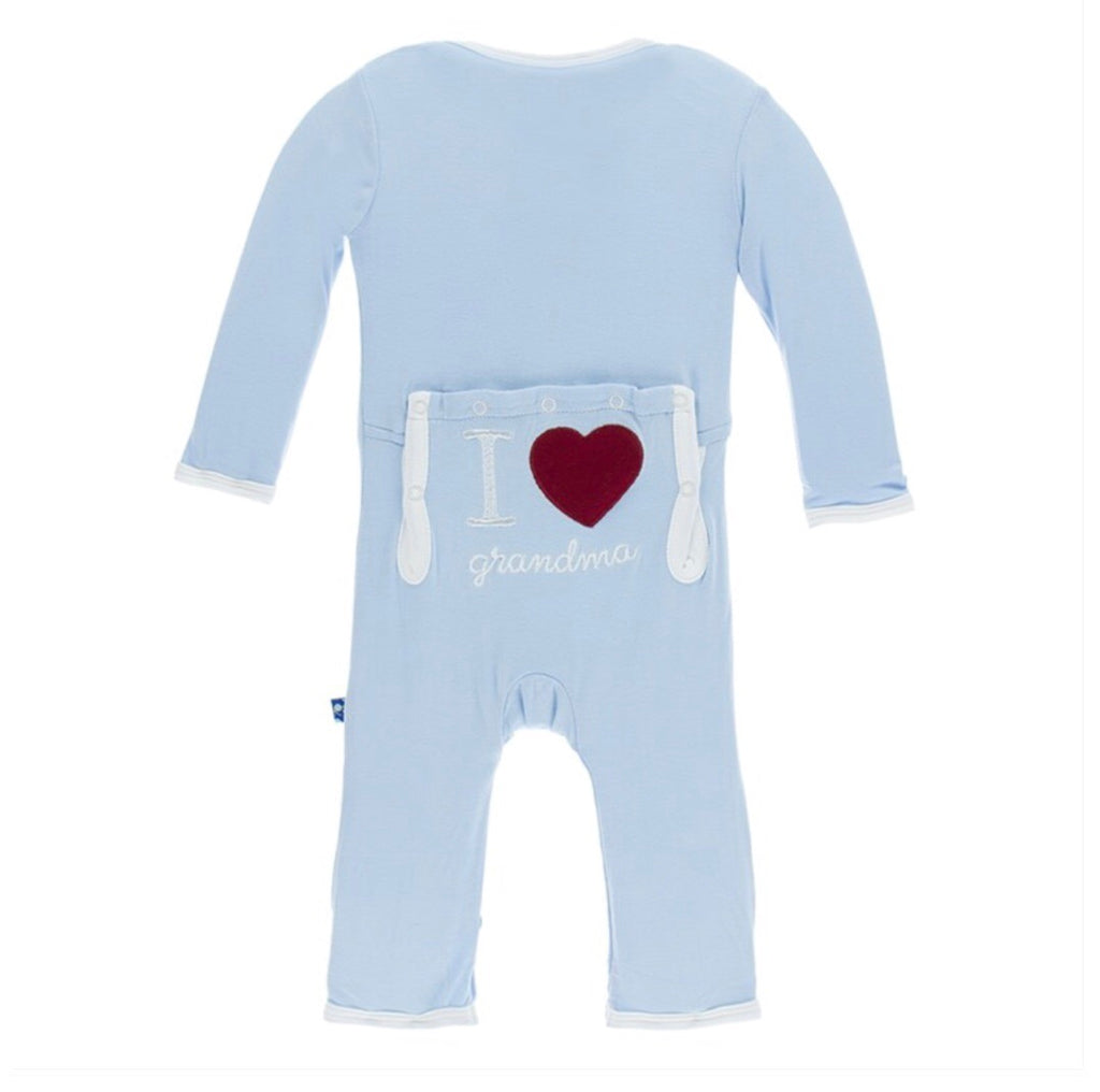KicKee Pants Holiday Applique Coverall in Pond I Love Grandma-KicKee Pants-The Bugs Ear