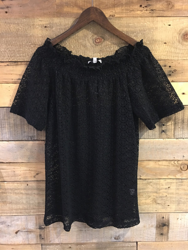 Laura Off Shoulder Top Cover Up in Black-Joy Joy-The Bugs Ear
