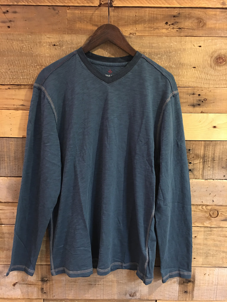 True Grit Men's Venice Slub Long Sleeve V Neck in Industrial Blue-True Grit-The Bugs Ear