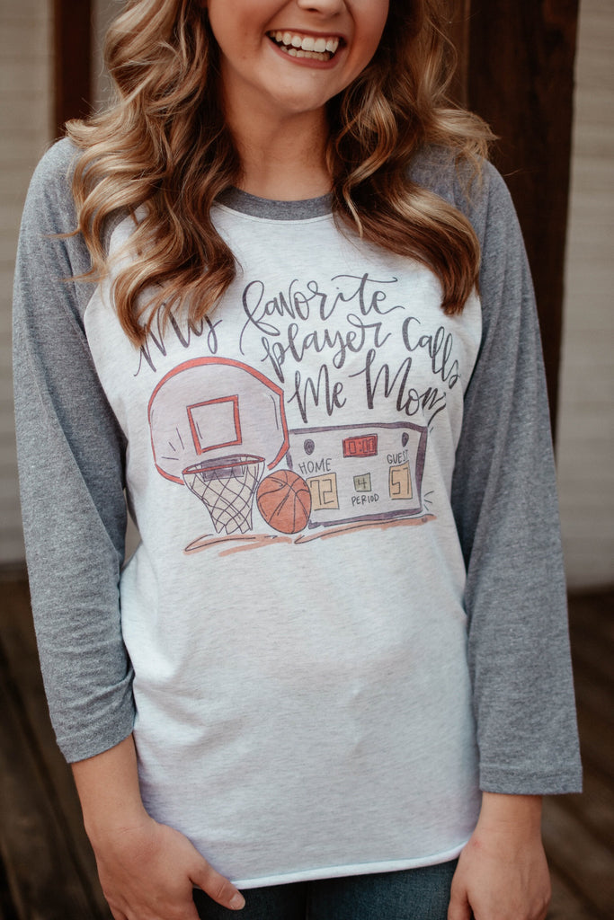My Favorite Player Calls Me Mom Basketball Raglan-Doodles By Rebekah-The Bugs Ear