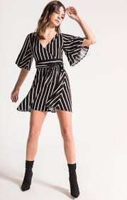 Jillian Stripe Tie Waist Dress in Black-Black Swan-The Bugs Ear
