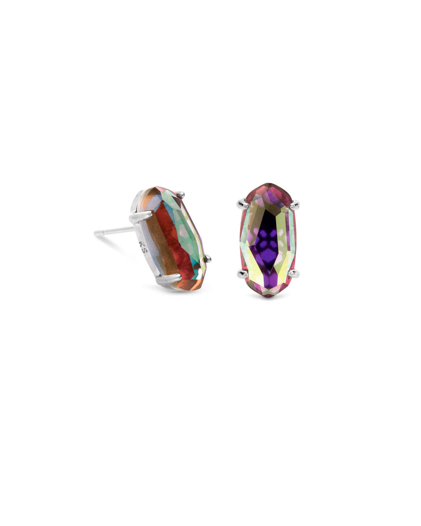 Kendra Scott Betty Silver Stud Earrings In Gray Dichroic Glass-Kendra Scott-The Bugs Ear