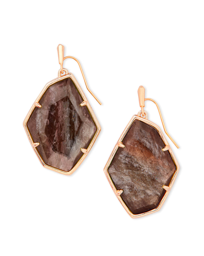 Kendra Scott Dunn Rose Gold Drop Earrings In Sable Mica-Kendra Scott-The Bugs Ear