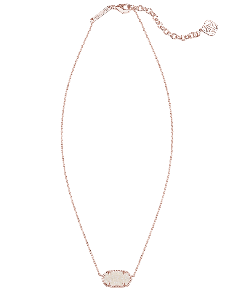 Kendra Scott Elisa Rose Gold Pendant Necklace in Iridescent Drusy-Kendra Scott-The Bugs Ear