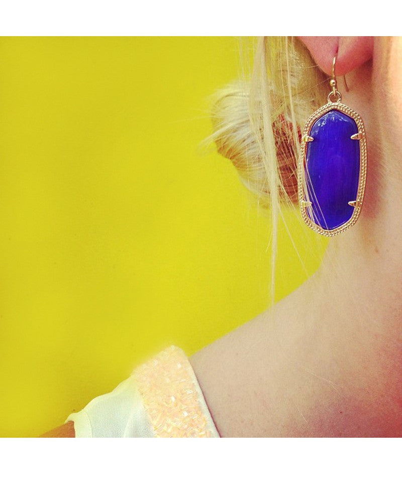 Kendra Scott Elle Gold Earrings in Cobalt Cats Eye-Kendra Scott-The Bugs Ear