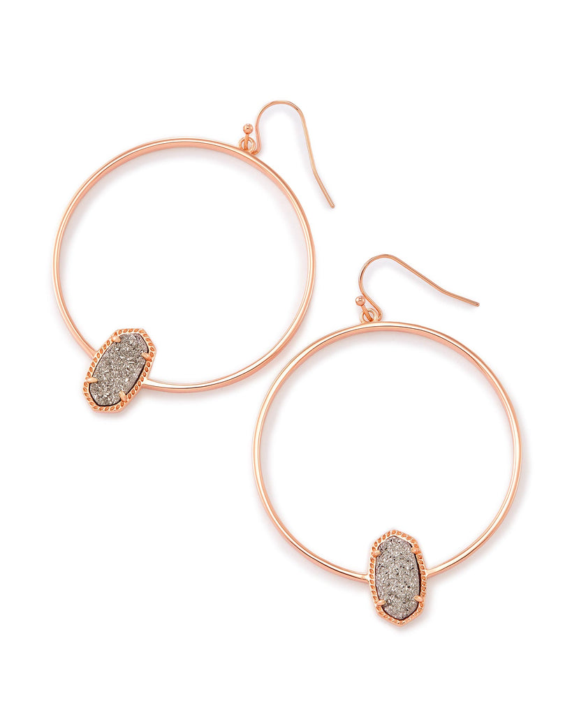 Kendra Scott Elora Rose Gold Hoop Earrings in Platinum Drusy-Kendra Scott-The Bugs Ear