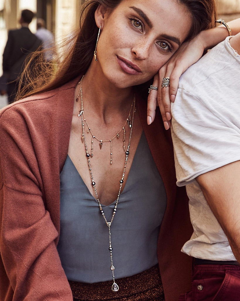 Kendra Scott Loralei Long Triangle Necklace in Rose Gold-Kendra Scott-The Bugs Ear