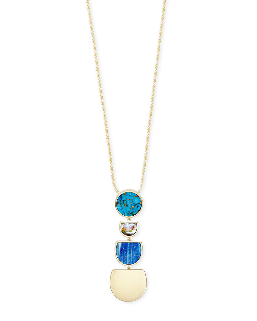 Kendra Scott Luna Gold Long Pendant Necklace In Blue Mix-Kendra Scott-The Bugs Ear