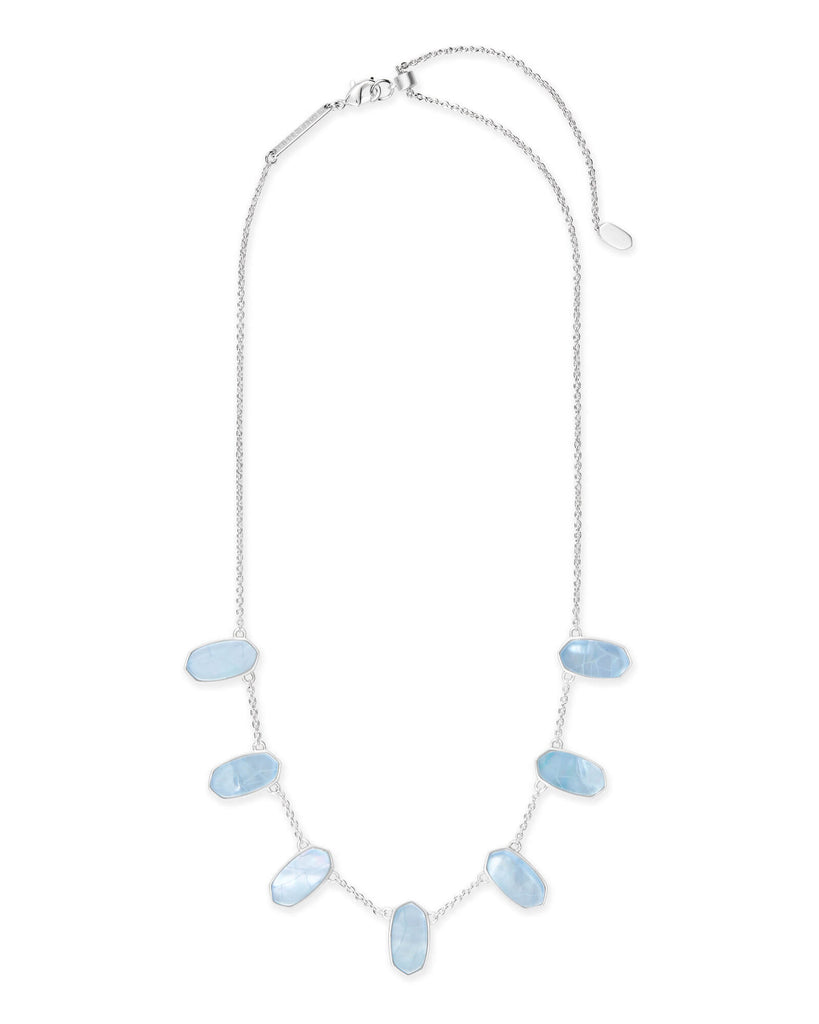 Kendra Scott Meadow Bright Silver Statement Necklace In Sky Blue Illusion-Kendra Scott-The Bugs Ear