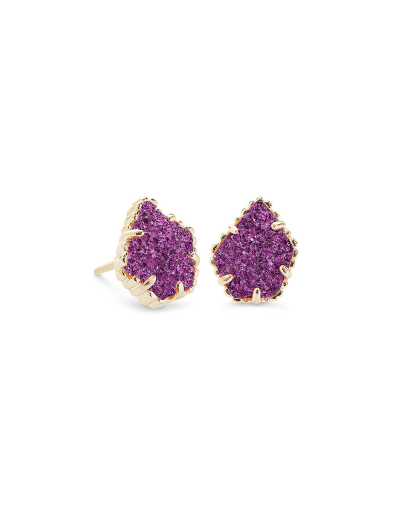 Kendra Scott Tessa Gold Stud Earrings In Amethyst Drusy-Kendra Scott-The Bugs Ear