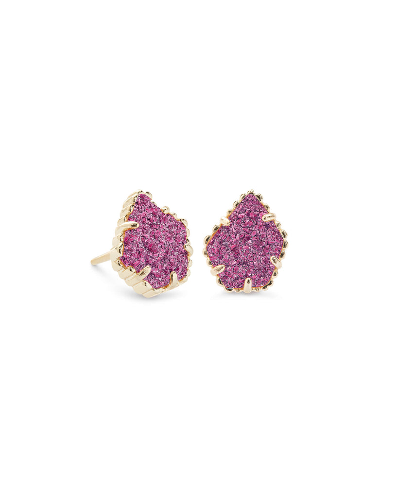 Kendra Scott Tessa Gold Stud Earrings In Deep Fuchsia Drusy-Kendra Scott-The Bugs Ear