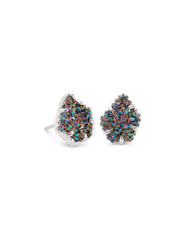 Kendra Scott Tessa Silver Stud Earrings In Multicolor Drusy-Kendra Scott-The Bugs Ear