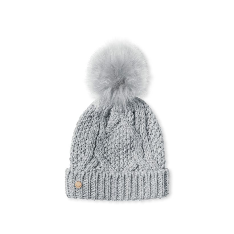 Katie Loxton Cable Knit Bobble Hat in Charcoal Gray-Katie Loxton-The Bugs Ear