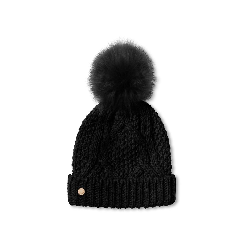 Katie Loxton Cable Knit Bobble Hat in Black-Katie Loxton-The Bugs Ear