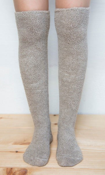 Lemon Outer Terry Viscose Over The Knee Socks -Oat-Lemon-The Bugs Ear