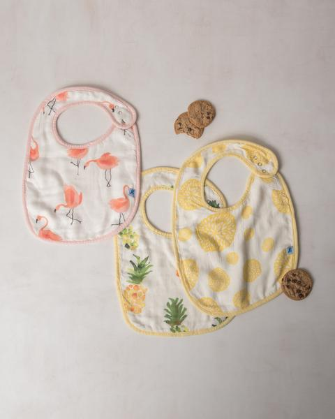 Little Unicorn Deluxe Classic Muslin Bib Set (Pink Ladies)-Aden + Anias-The Bugs Ear