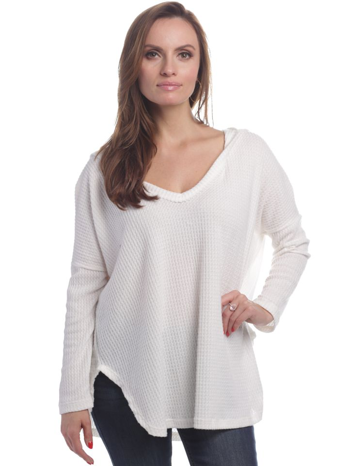Brynlee Top V-neck Long Sleeve with Hood-Elan-The Bugs Ear