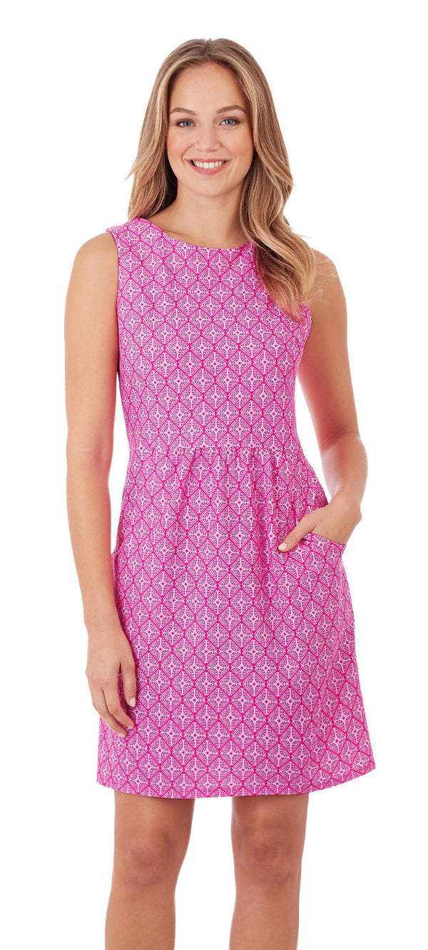 Jude Connally Mary Pat Dress in Mosaic Tiles Mini Pink-Jude Connally-The Bugs Ear