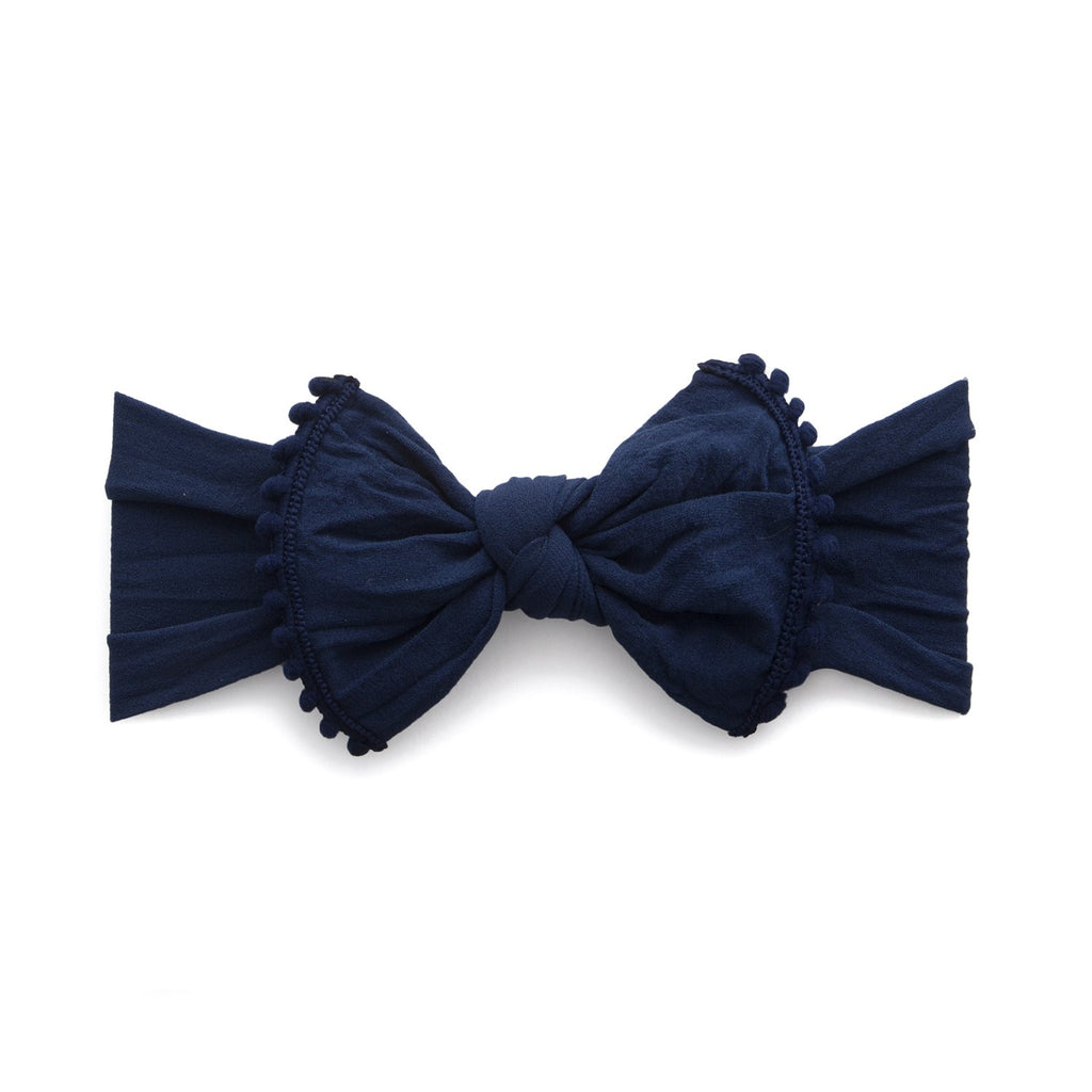 Baby Bling Trimmed Knot Headband Navy-Baby Bling-The Bugs Ear