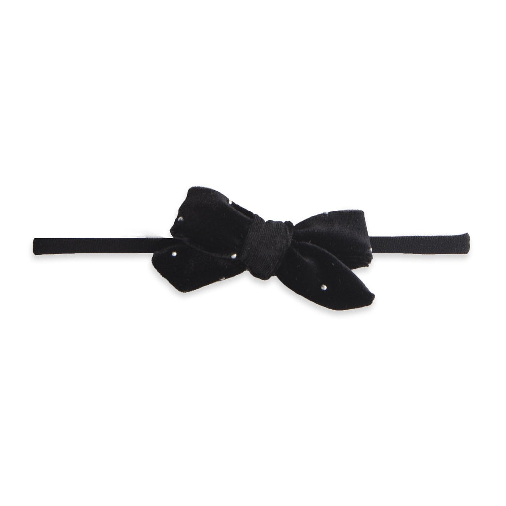 Baby Bling Velvet Bow Skinny Black Stud-Baby Bling-The Bugs Ear
