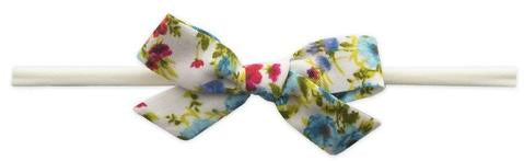 Baby Bling Cotton Print Bow Turquoise Floral-Baby Bling-The Bugs Ear