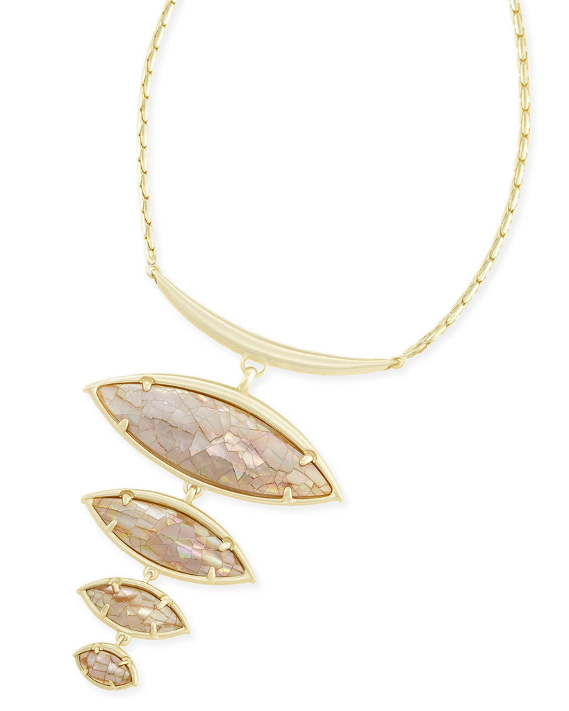 Kendra Scott Morris Statement Necklace in Crackle Brown Mother of Pearl-Kendra Scott-The Bugs Ear