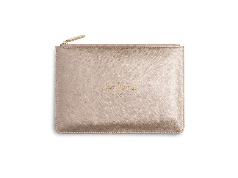 Katie Loxton Just Married Perfect Pouch in Metallic Gold-Katie Loxton-The Bugs Ear