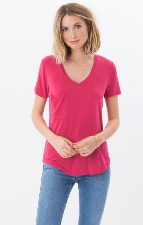 Z Supply Pocket Tee in Dragon Fruit-Z Supply-The Bugs Ear