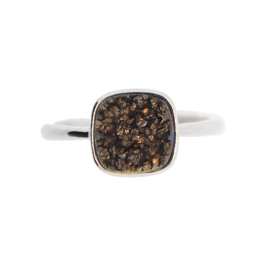 T. Jazelle Adjustable Druzy Ring Coffee