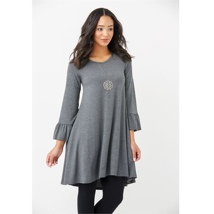 Roslyn Ruffle Sleeve Tunic With Pockets in Charcoal-Coco and Carmen-The Bugs Ear